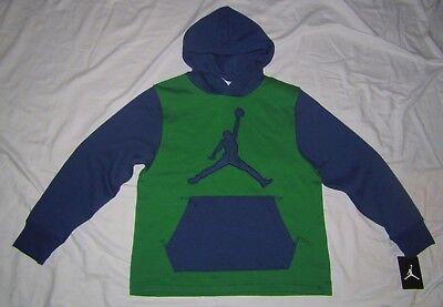 NWT Boys NIKE AIR JORDAN Navy Blue & Green Logo Hoodie Sweatshirt Boys size L | eBay