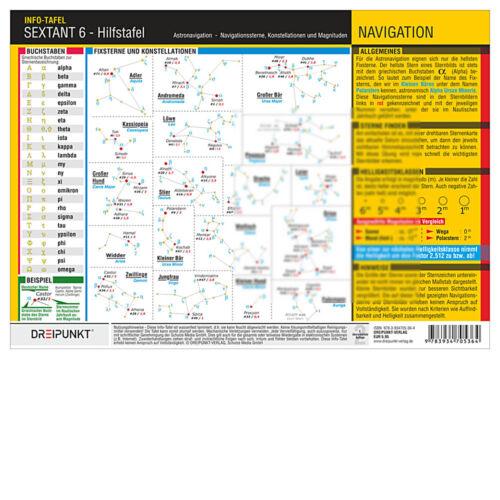 - Hilfstafel Astronavigation Info-Tafel # Sterne Astro Dreipunkt DP 6 Sextant