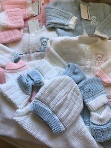 Spanish Baby Girls Knitted Romper Baby Jumper Pram Set 3 Pce Pink Blue 0-3 Mths