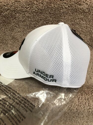 NEW UNDER ARMOUR Men/'s Mesh Inline Hat Cap White with Black logo M//L or L//XL