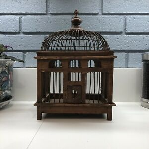 Vintage-Bird-Cage-Victorian-Dome-Wood-amp-Wire-Hand-Crafted-w-Pullout-Tray