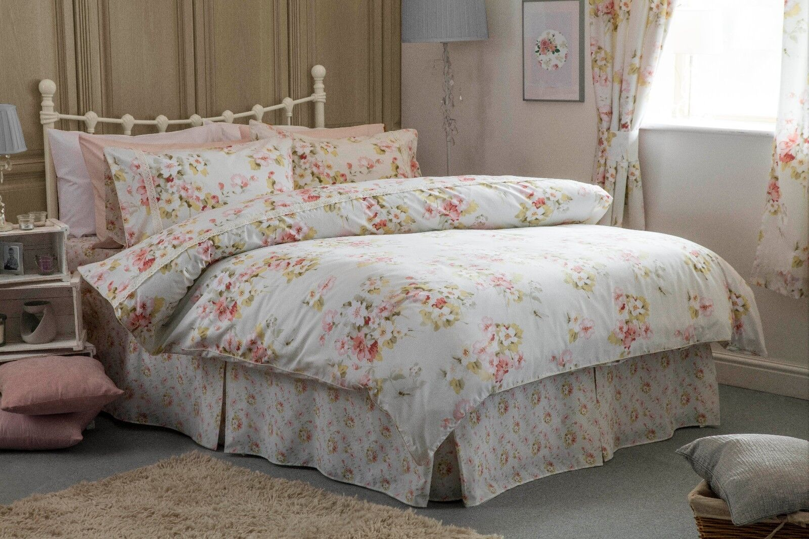 Country Diary Style Blossom Duvet Cover, Bedspread, Fitted Valance, Curtains