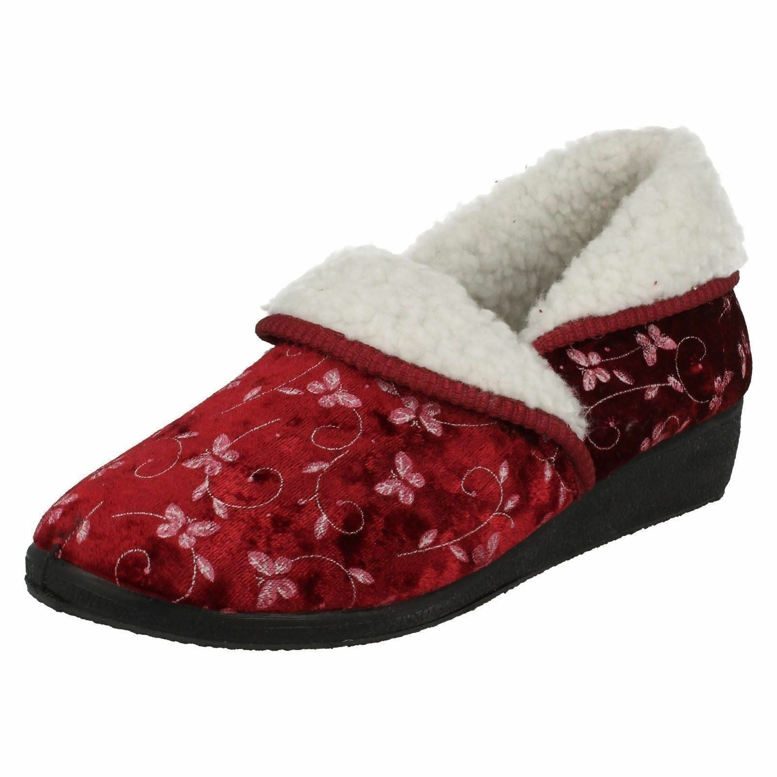 Four Floral Seasons 'Edith' Ladies Burgundy Floral Four Warm Comfortable Slippers e3b979