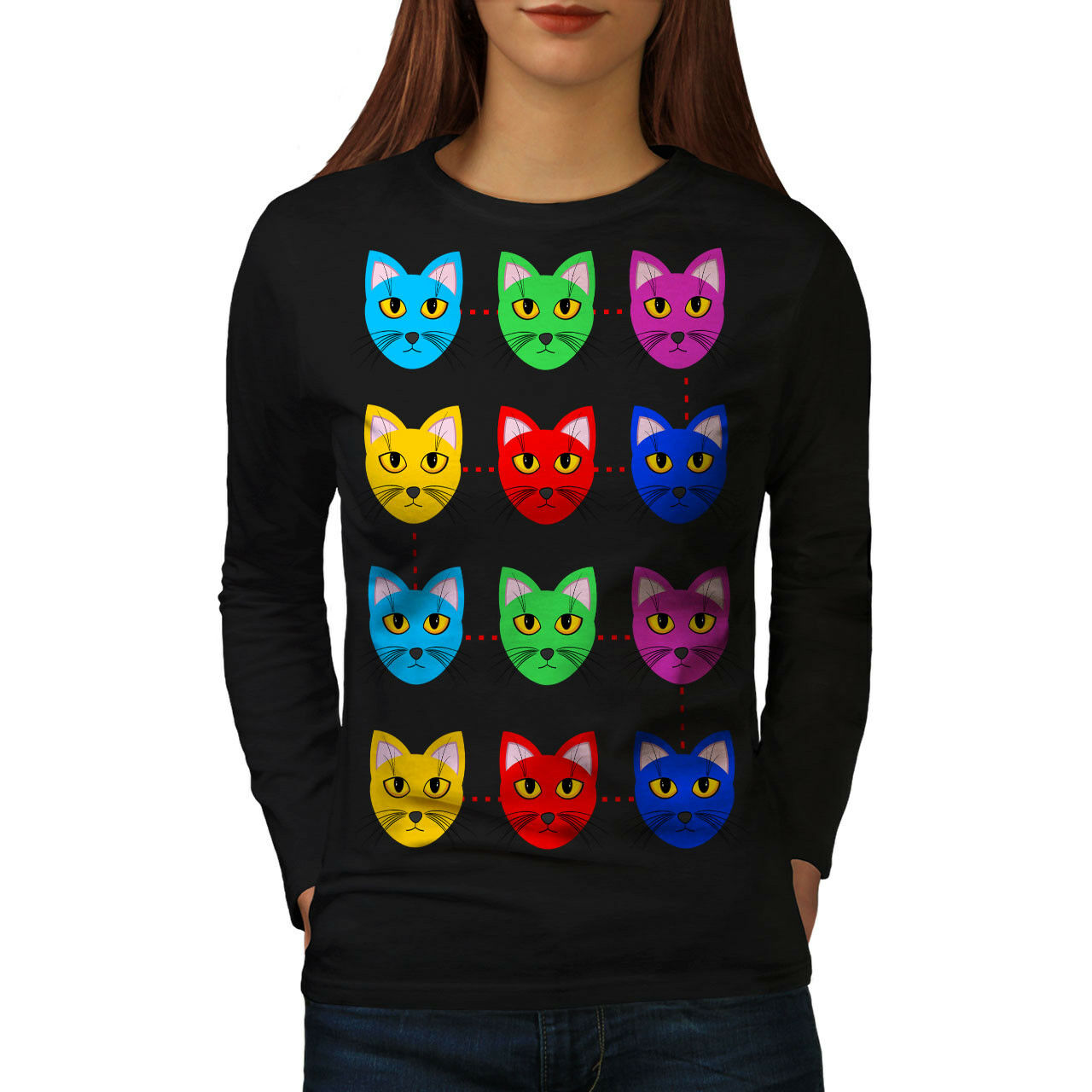 Colorful Furry Cute Furry Colorful Cat Women Long Manche T-shirt New ee87f5