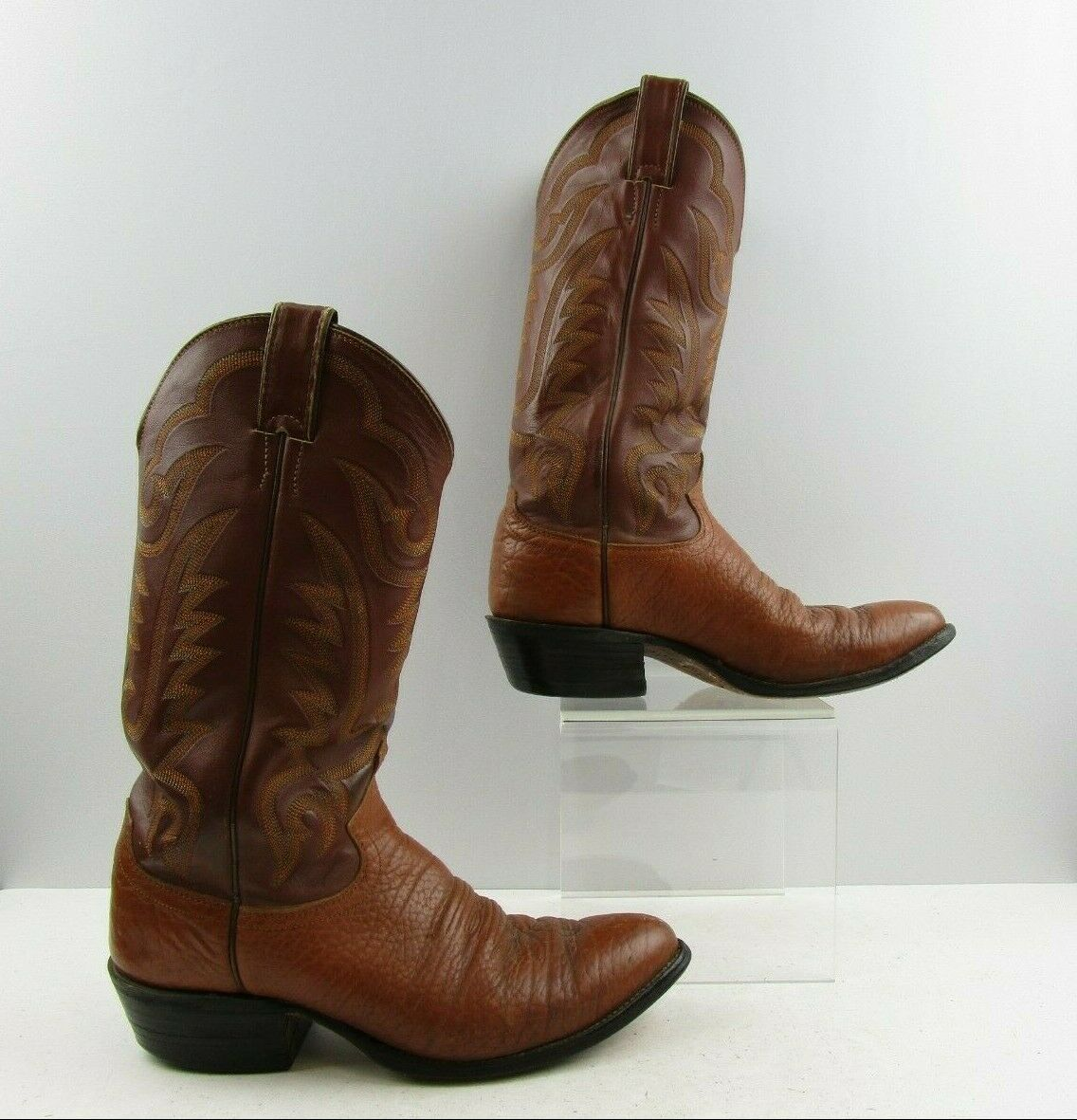 Men's Justin Brown Bull Hide Leather Cowboy Western Boots Size  8.5 D