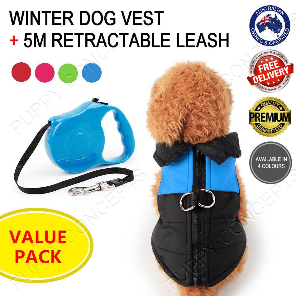 Winterhundeweste & amp;5M Führleine Value Pack Haustierjacke Mantel Kleidung warm