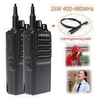 2 Leixen Note 25w 2 Way Radio Long Range Walkie Talkies + Usb Programming Cable