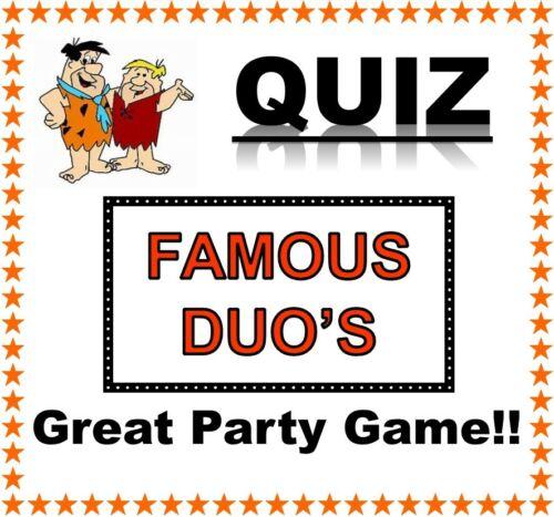Famous Duo/'s Quiz Fun Lockdown//Skype Game 10 A5 Sheets Tiebreakers