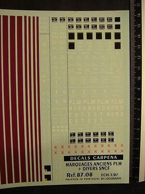 87.24 Decals Carpena for trains 1//87 Marquages Divers Autorails