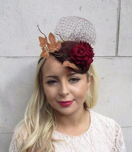 Brown Burgundy Red Rose Leaf Net Fascinator Headband Statement Races ... c0b66281883