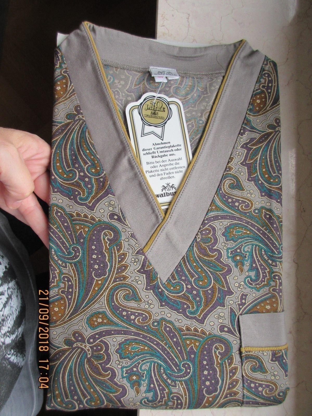 Walbusch Schlafanzug Gr. 52 Herren Pyjama NEU top Qualität Paisley taupe/lila