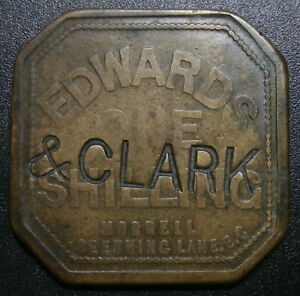 Market token - Edwards & Clark shilling - brass 1/ counterstamped check 29.7mm