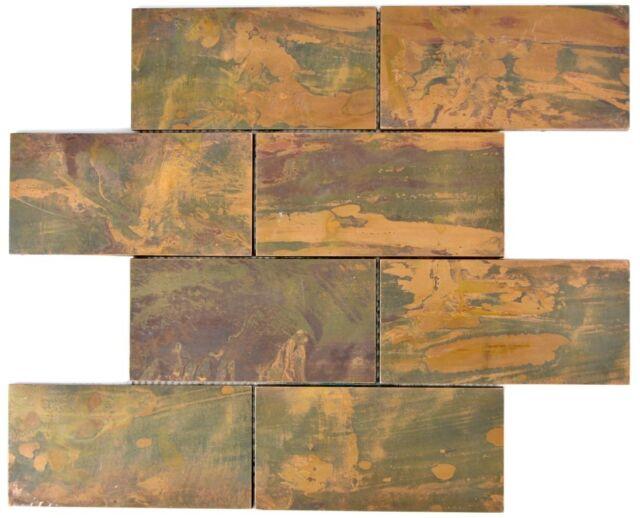 Mosaic Tile Copper Subway Brown Wall