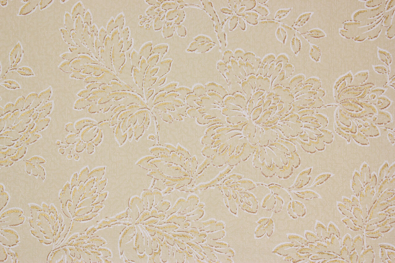 1930's Rare Antique Vintage Wallpaper Large Flowers gold Metallic Accents Beige