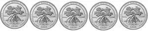 USA - 5 pcs x 1/4 Dollar 2020 P UNC Salt River Bay - Virgin Islands 53rd Park