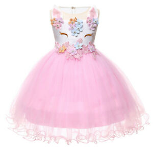 6fc5eb3c10e98 Details about Toddler Baby Girl Unicorn Tutu Dress Bridesmaid Birthday  Party Christening Gown