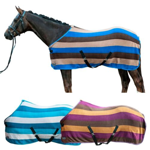 Hkm Colour Stripes Cooler Fleece Horse Rug With Cross Surcingles 3 Colours Eu 145cm Uk 6 4 Blue Beige Dark Brown
