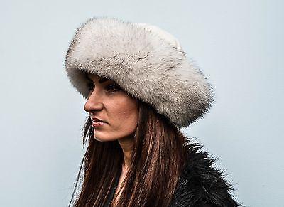 Luxury Saga Furs Space Gray Fox Fur /& Gray Leather Winter Ushanka Aviator Hat