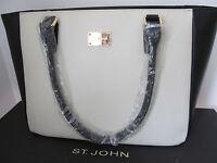 St John Knit Black White Cream Leather Tote Or Shoulder Handbag