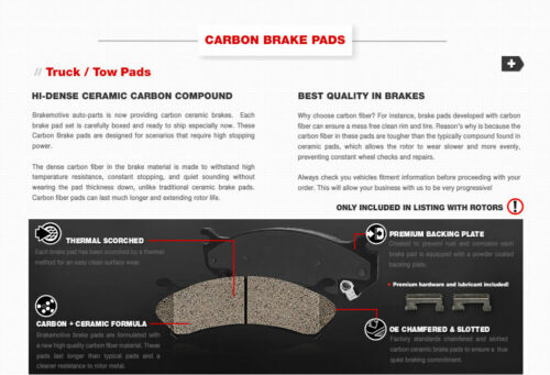 For 1994-1996 Bronco F150 Front Drill Slot Brake Rotors /& Carbon Ceramic Pads