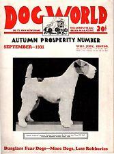 Vintage Dog World September 1931 Fox Terrier Cover