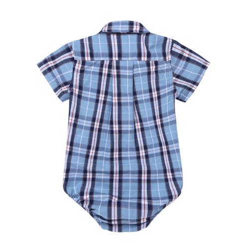 Toddler Kids Baby Boys Cotton Plaid Tops Shirt Long//Short Sleeve T-shirt Romper