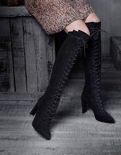 b2dbc078b74 EEUC Stuart Weitzman Highstrung Lace Up High Heel Boots leather suede
