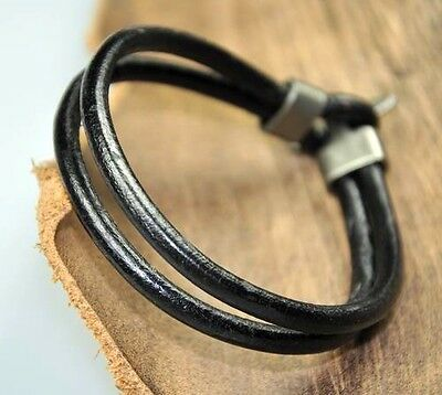 Surfer Double 4mm Leather Bracelet Wristband COOL BLACK