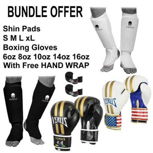 VERUS Shin Instep Rex Leather Boxing Gloves 8oz 10oz 12oz 14oz Free Hand wrap
