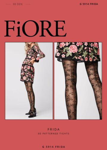 FiORE Frida Floral Seamed Patterned Sheer to Waist Tights 30 Denier Fine Mesh