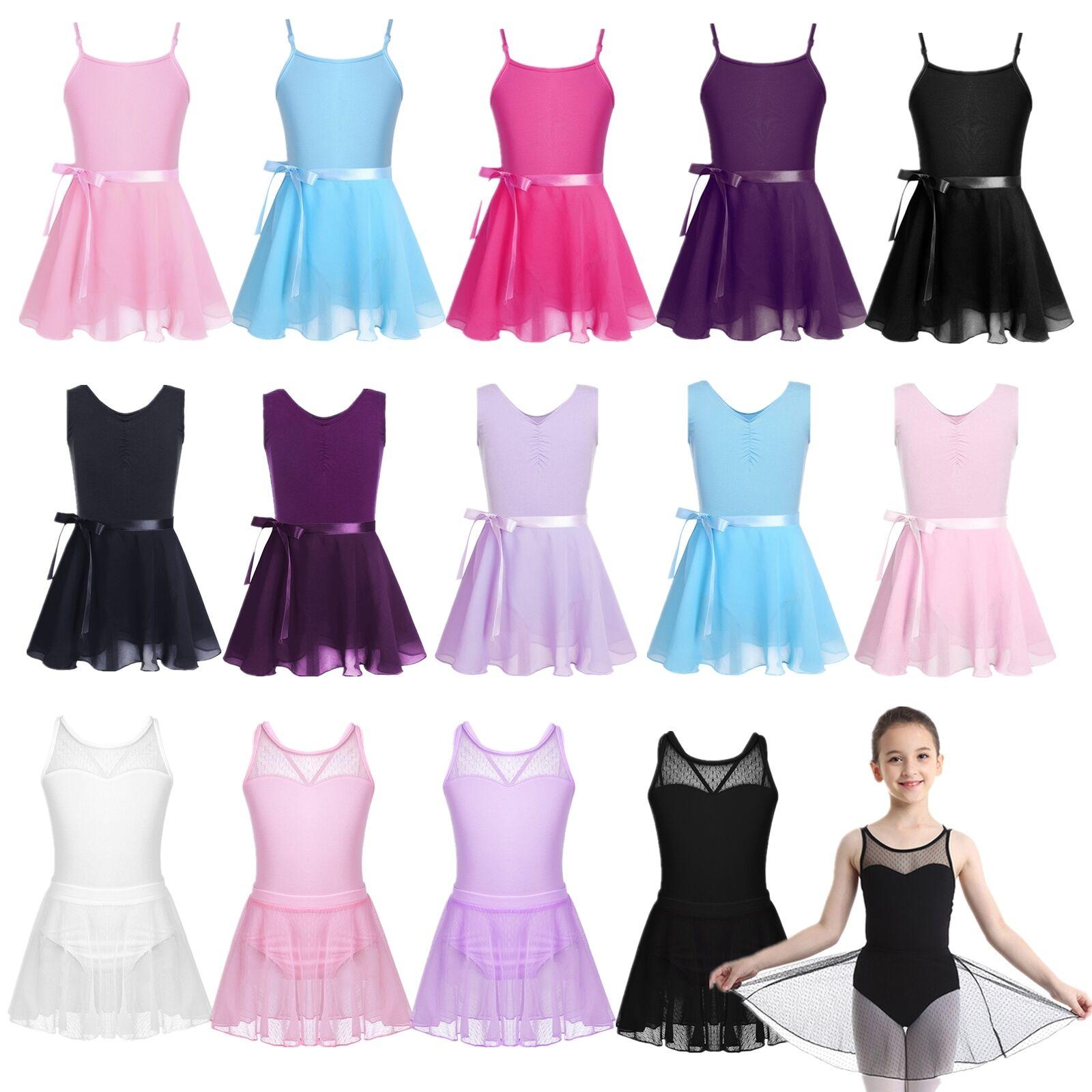 Girls Gymnastics Ballet Dance Wear Chiffon Sleeveless Outfit Set Show Costumes