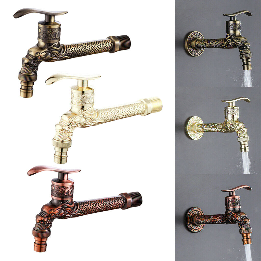 Carved Wall Mount Water Tap Outdoor Garden Wash Basin Washing Machine Faucet