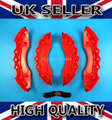 SEAT LEON IBIZA SPORT BRAKE CALIPER COVERS CAPS SET KIT FRONT /& REAR RED ABS