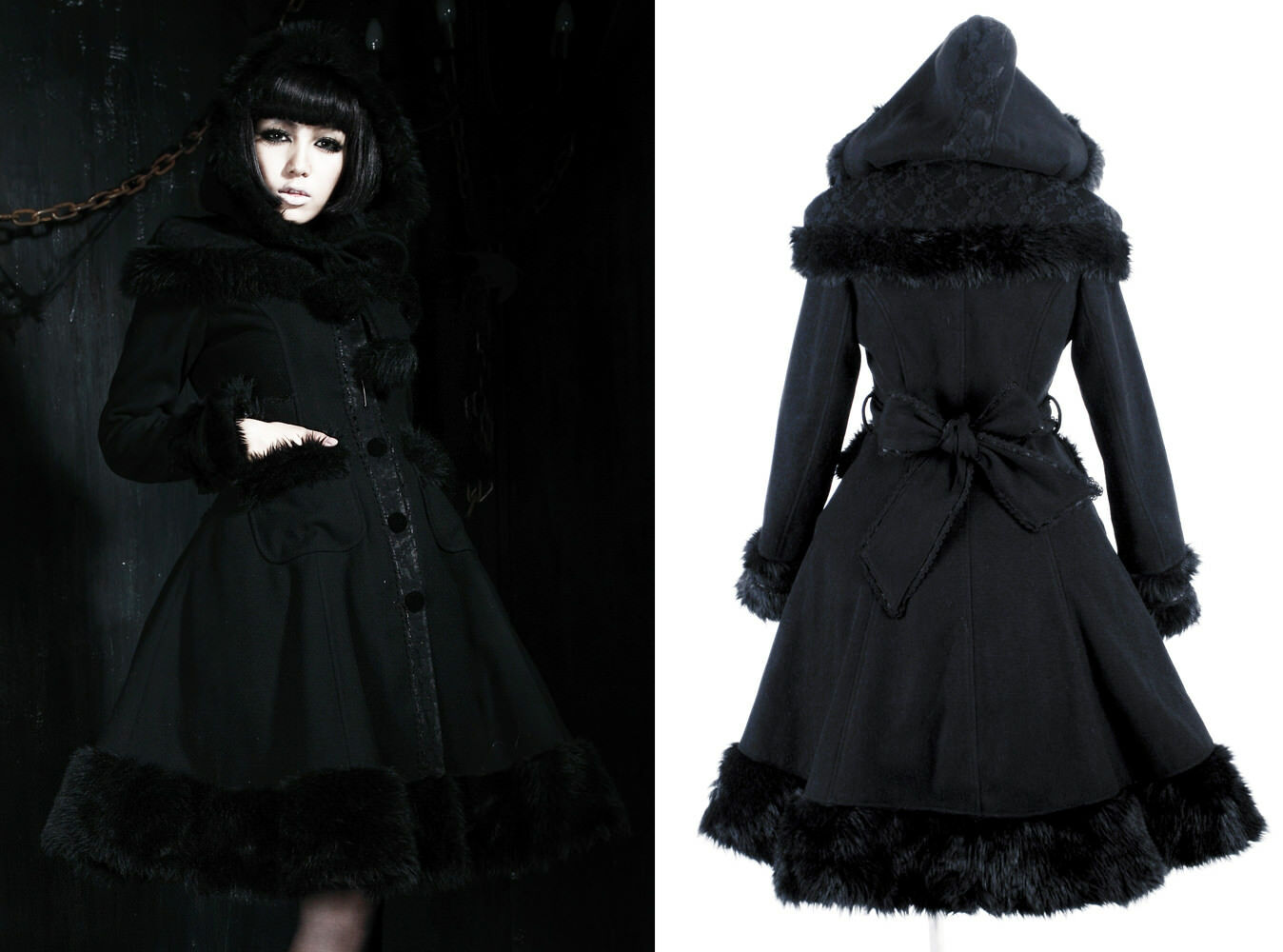 Gothic sweet lolita hooded coat winter princess flared fur lace Alice PunkRave