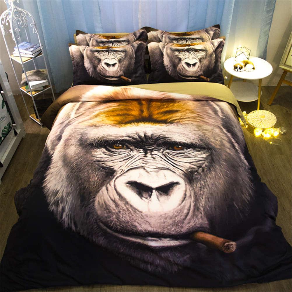 Ugly Monkey Human Face 3D Digital Print Bedding Duvet Quilt Cover Pillowcase