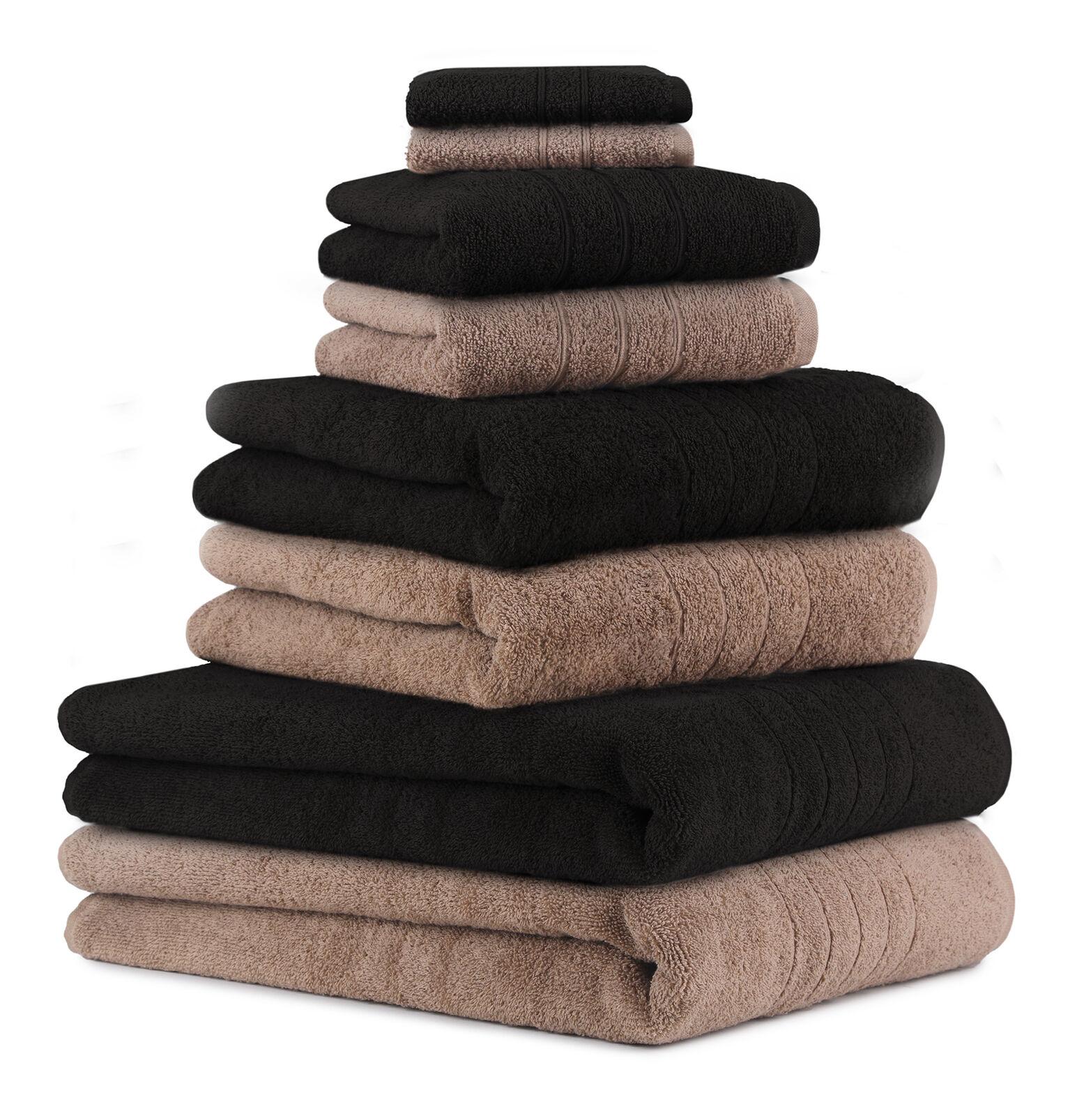 Betz 8-tlg.Handtuchset DELUXE Seiftuch Handtuch Duschtuch Badetuch mokka&schwarz     | Bekannt für seine gute Qualität