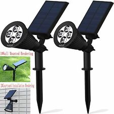 Solar LightsSolar Powered Spotlight 2-in-1 Adjustable 4 LED In-Ground Light L...