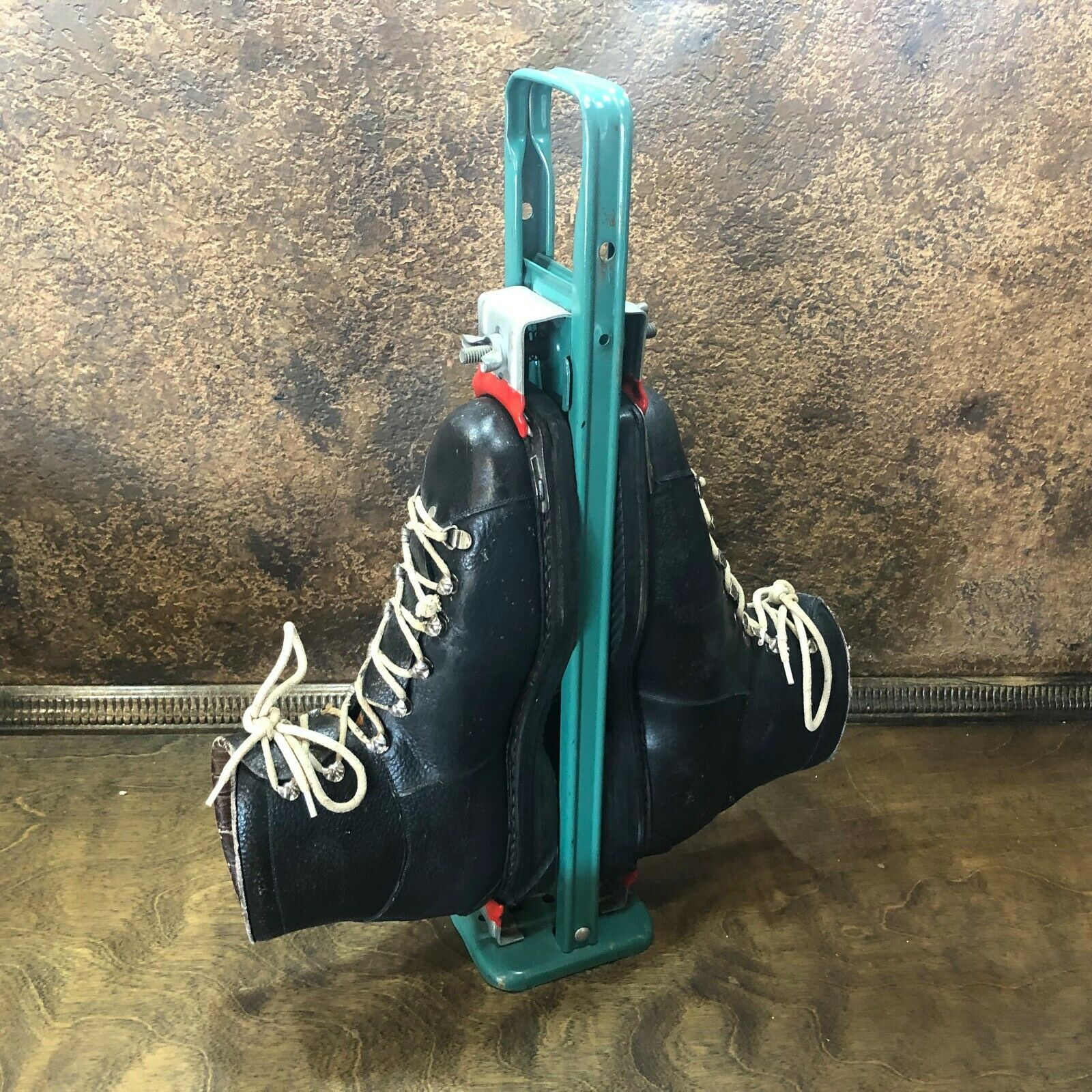 Vintage Leather Ski Boots w Hanger Carrier  Antigue Cabin Lake Ski Lodge Decor