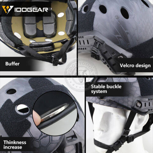 IDOGEAR Tacitcal FAST Helmet PJ Type Advanced Adjustment w//NVG Shroud+Side Rail