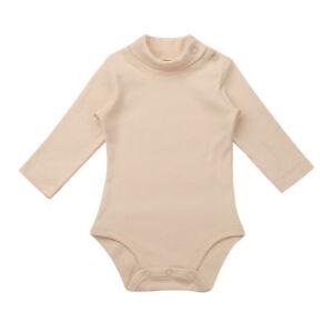 Newborn Baby Turtleneck Bodysuit Long Sleeve Cotton Solid Shoulder Snaps c