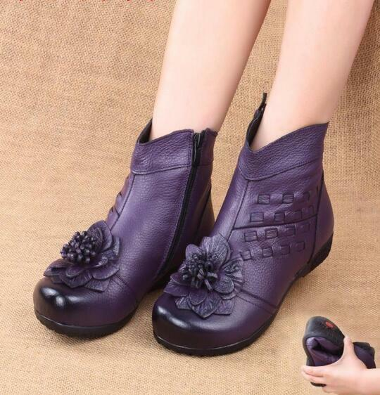 femmes Leather Retro Floral Ankle bottes  chaussures Soft Sole Velvet Lined Warm mgic