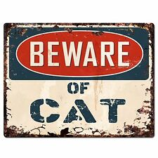 PP0631 Vintage Beware of CAT Plate Rustic Chic Sign Home Room Store Decor Gift
