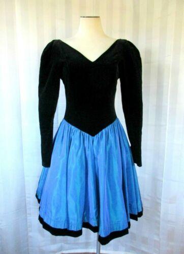 Vintage Laura Ashley Party Dress 1980s 1990s Blac… - image 1