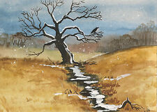 PRINT OF ACEO PAINTING RYTA RAVEN CROW OAK LANDSCAPE WINTER VINTAGE STYLE XMAS
