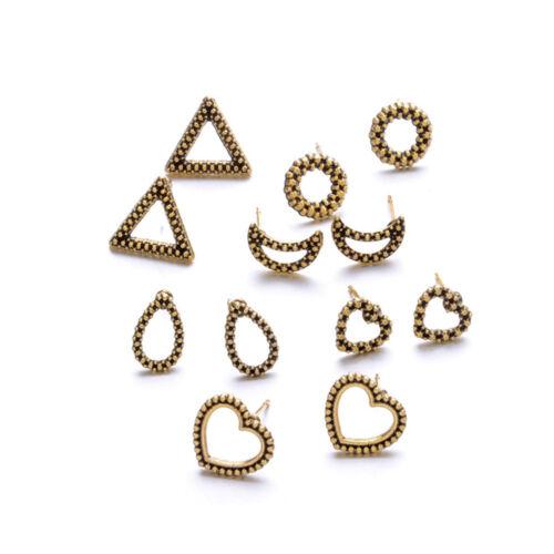 6 Pair Christmas Geometric Studs Heart Moon Silver Gold Earrings Women/'s Jewelry