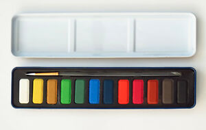 Set-of-12-Pan-Watercolours-by-Jack-Richeson-with-Brush-and-Watercolor-Tin-Case