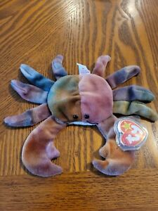 Rare 1996 Claude the Crab TY Tie Dyed Beanie Baby Babies