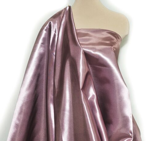 "SHINY SATIN POLY HEAVY FABRIC 60/"" MAUVE 35  BRIDAL 1 YARD PAGEANT"