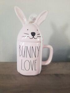 Rae Dunn BUNNY LOVE Mug Pink Ceramic Coffee Mug with Easter Bunny Topper