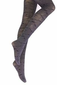 NEW WOMENS LADIES GREY PATTERNED SEMI OPAQUE TIGHTS ONE 8-14 SIZE R3N